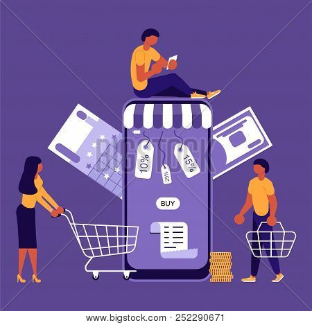 Business People, Man And Woman Shop Online Using Smartphone, In Flat Modern Style. Concept For Mobil