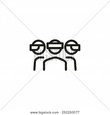 Virtual Presentation Line Icon. Group, Virtual Reality Goggles, Video. Conference Concept. Vector Il