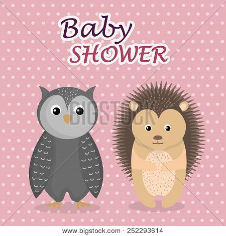 Baby Shower Card With Cute Owl And Porcupine