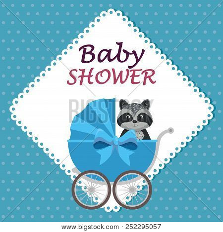 Baby Shower Card With Cute Raccoon In Cart