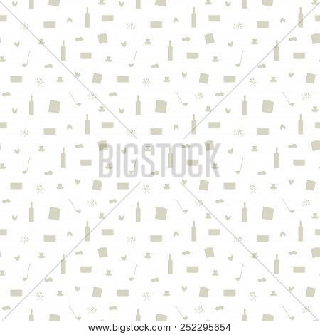 Vector Seamless Pattern Gray Shapes Bottles, Plates Casserole Cookware Cooking Ingredients Seasoning