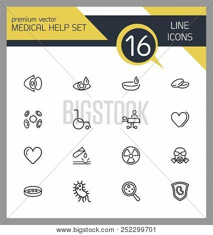Medical Help Icons. Set Of Line Icons. Laboratory, Heart Decease, Virus. Medicine Concept. Vector Il