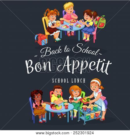 Joyous Pupils Having Healthy Lunch In School Dining Room During Break Vector Illustration. Smiling S