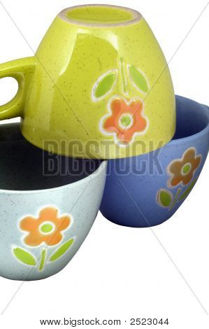 Stack Of Empty Coffee Cups On White Background