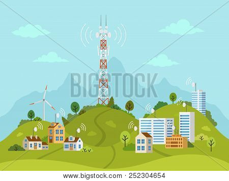 Transmission Cellular Tower On Landscape. Wireless Radio Signal Connection With Houses And Buildings