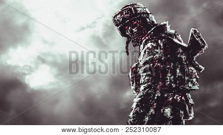 Sinister Zombie Soldier Turned And Looks. Illustration In Genre Of Horror.