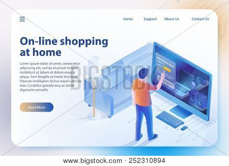 Isometric Shopping At Home. Ecommerce Sales, Online Shopping, Digital Marketing. Sale And Consumeris