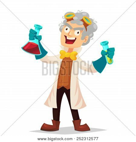 Mad Professor In Lab Coat And Rubber Gloves Holding Flasks, Cartoon Vector Illustration Isolated On