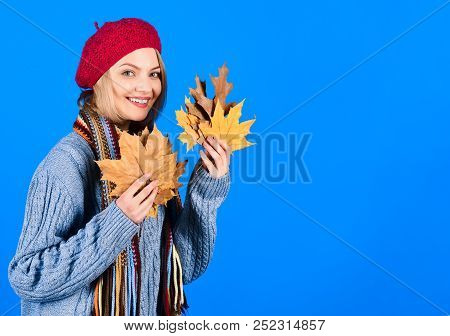Portrait Of Smiling Woman With Maple Leaves. Autumn. Autumn Mood. Sensual Woman With Autumn Leaf. Ye
