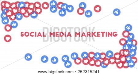 May 01, 2018: Social Media Marketing. Social Media Icons In Abstract Shape Background With Scattered