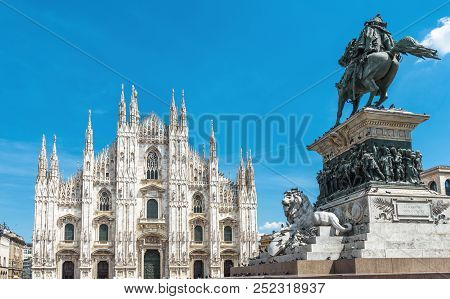 Milan Cathedral (duomo Di Milano) And Monument To Victor Emmanuel Ii On Piazza Del Duomo, Milan, Ita