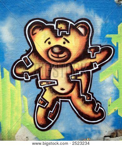 colored graffiti in city close up art detalis poster