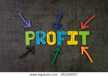 Business Profit, Success In Investment Or Company Revenue More Than Expense Concept, Multi Color Arr