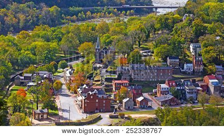 Aerial View On Harpers Ferry Historic Town And Park In Autumn. Harpers Ferry National Historical Par
