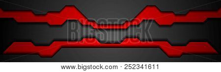 Black And Red Contrast Tech Vector Banner