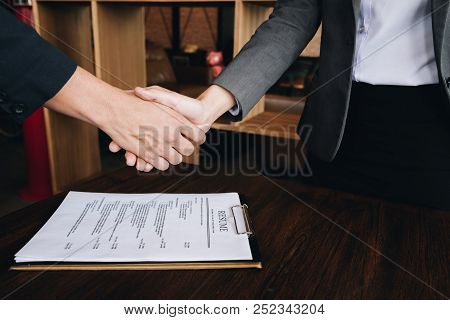 Successful Job Interview With Boss And Employee Handshaking, Job Interview Concept