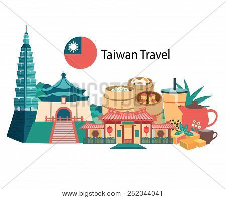 Taiwan Travel With Famous Landmarks And Foods, All In Flat Style Background Banner, Illustration, Ve