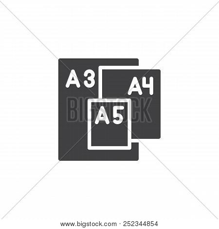 Paper Sizes Vector Icon. Filled Flat Sign For Mobile Concept And Web Design. Paper Size Format Serie