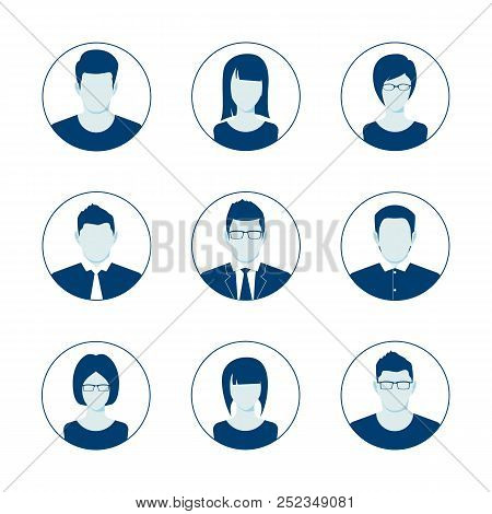 Default Avatar Profile Icon Set. Man And Woman User Image. Anonymous Internet User Picture Collectio