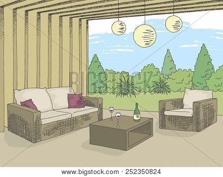 Patio Garden Graphic Color Interior Sketch Illustration Vector