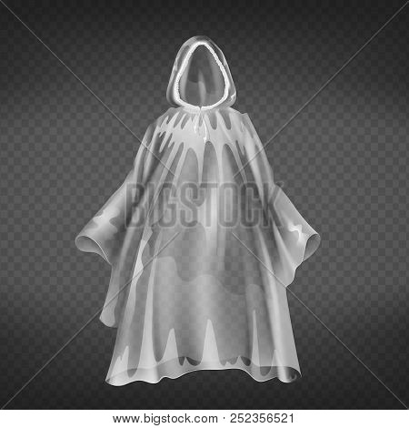 Vector Realistic Transparent Raincoat, Disposable Waterproof Slicker For Autumn, Springtime. Human P