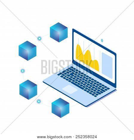 Blockchain Laptop Isometric Blockchain Concept Background Vector Image
