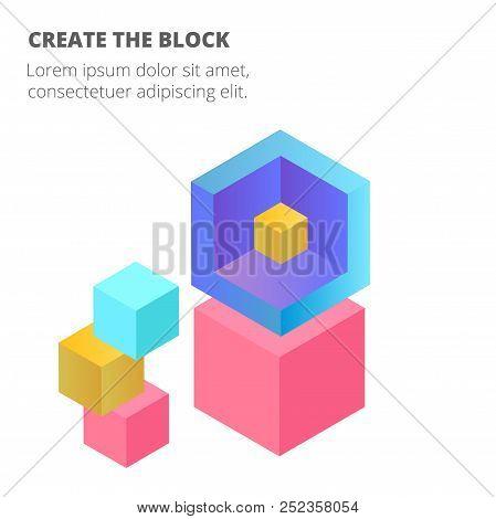 Blockchain Isometric Blockchain Concept Background Vector Image