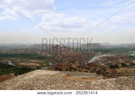 Arieal View Of The Chain Of Hills Of Hampi From North Side Of Matanga Hill, Hampi, Karnataka. Sacred