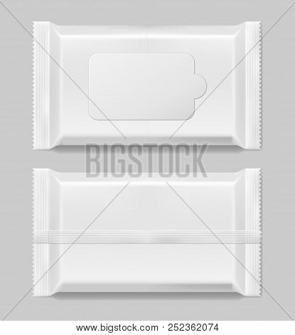 Wet Wipes Napkins Template Front And Vack View Isolated. White Wet Wipes Blank Package. Vector Illus