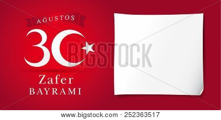 Zafer Bayrami 30 Agustos With Nambers And White Paper, Victory Day Turkey. Translation: August 30 Ce