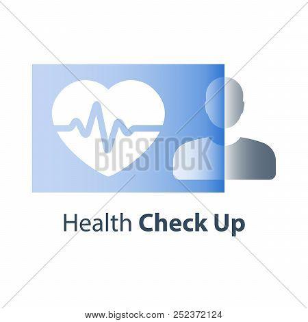Health Care, Cardio Check Up, Heart Pulse Trace, Medical Exam Services, Cardiovascular Disease Diagn