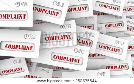 Complaint Angry Customer Feedback Envelopes 3d Illustration