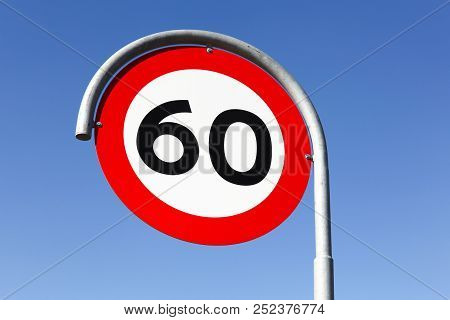 Speed Limit Traffic Sign 60 On The Road