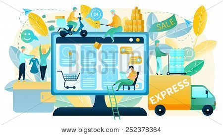 Online Shopping Vector Concept In Flat Design With People Making Purchases In Online Shop, Offering
