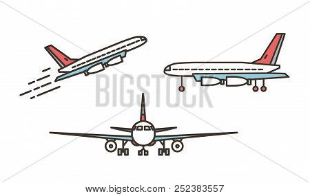 Modern Airplane, Passenger Plane, Airliner Or Jumbo Jet Taking Off Or Ascending And Standing On Grou