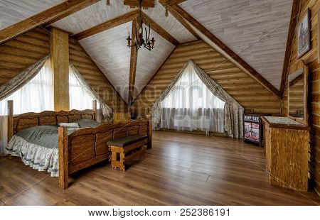 Moscow - May 2, 2018: Interior Of Bedroom In Country House Or Hotel. Interior Design Of A Living Roo