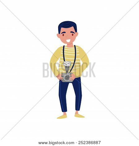 Young Smiling Man With Camera In Hand. Professional At Work. Cartoon Character Of Photojournalist. F