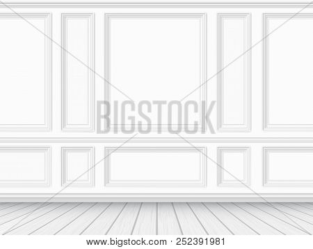 Classic Interior Of The Living Room. Parquet Floor And White Wall Decorated With Moulding Panels. Ve