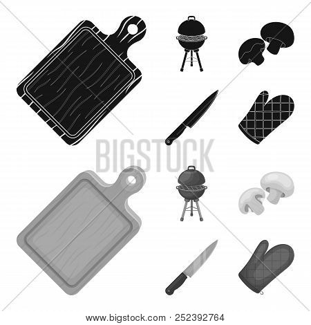 Barbeque Grill, Champignons, Knife, Barbecue Mitten.bbq Set Collection Icons In Black, Monochrome St