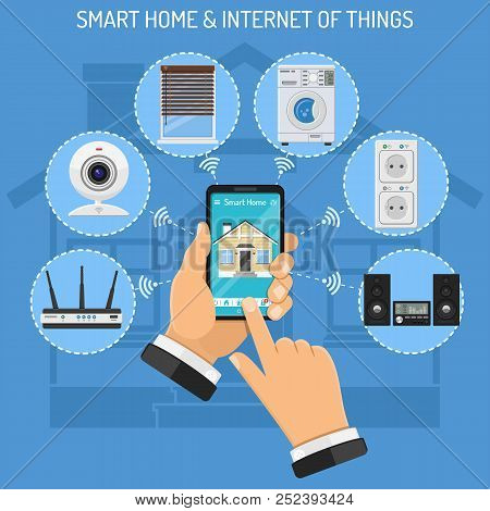 Smart Home And Internet Of Things Concept With Flat Icons. Man Holding Smartphone In Hand And Contro