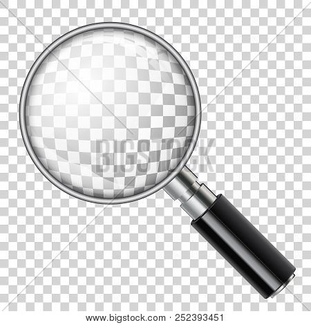 3d Realistic Magnifying Glass Loupe On Transparent Background. Isolated Vector Illustration