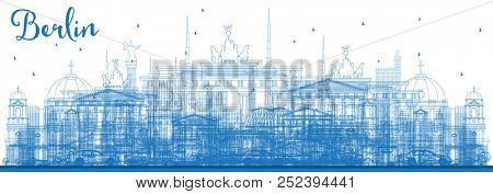 Outline Berlin Germany Skyline with Blue Buildings. Business Travel and Tourism Concept with Historic Architecture. Berlin Cityscape with Landmarks.