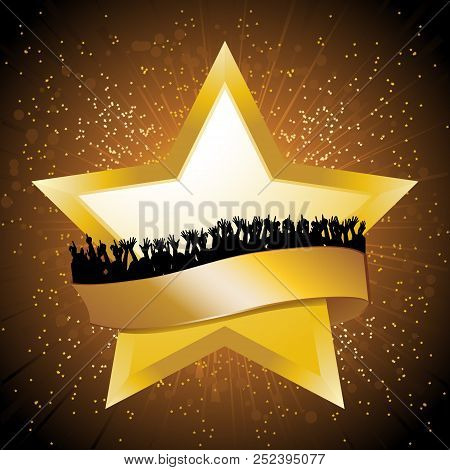 Golden Star With Blank Banner And Silhouette Crowd Over Golden Star Burst Background