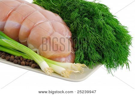 Bound Turkey Breast With Green Vegetables On Plate