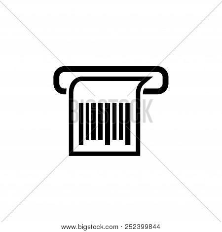 Print Receipt, Barcode Chek. Flat Vector Icon Illustration. Simple Black Symbol On White Background.