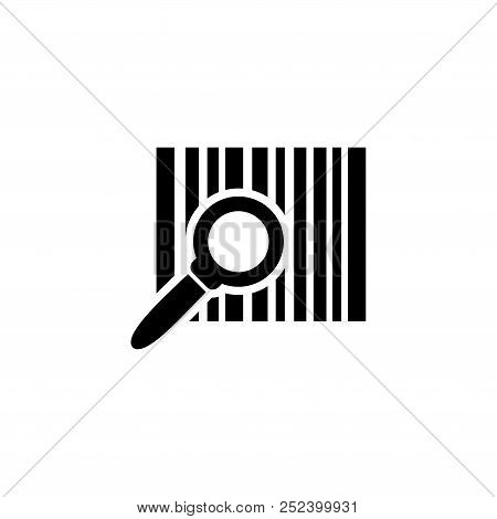 Barcode Search, Find Bar Code. Flat Vector Icon Illustration. Simple Black Symbol On White Backgroun
