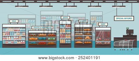 Supermarket Shelvings And Glass Cases With Various Products - Milk, Fruits, Vegetables, Juices, Bake
