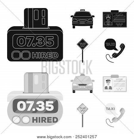 The Counter Of The Fare In The Taxi, The Taxi Car, The Driver Badge, The Parking Lot Of The Car. Tax