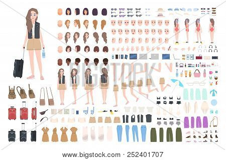 Traveler Girl Constructor Or Diy Kit. Bundle Of Female Tourist Body Parts, Postures, Clothing, Touri