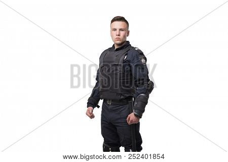 Armed police officer isolated on white background